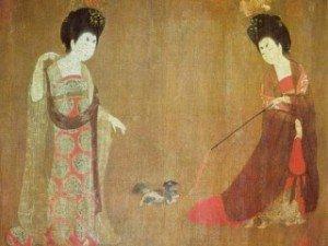 Cuadro medieval con perro Shih Tzu