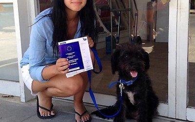 Vuela 10.000 kilómetros para adoptar a la perra que le salvó la vida
